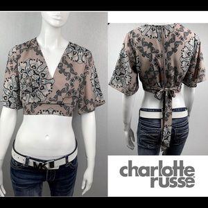 NEW Charlotte Russe Low Cut Tie Back Crop Top